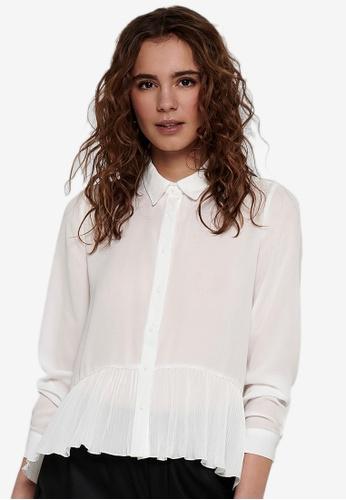 ONLY white Georgina Plisse Shirt 969C5AA6977431GS_1