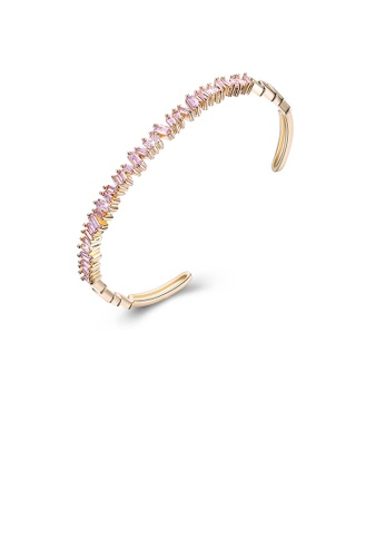 Glamorousky pink Elegant Plated Champagne Gold Open Bangle with Pink Cubic Zirconia 4D406AC153B9F9GS_1