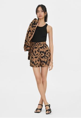 Pomelo brown Abstract Print Shorts - Brown 385CDAA276EF31GS_1