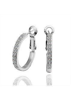 Jane White Gold Plated Round with Diamond Earrings