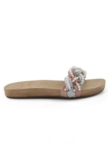 Shu Talk 粉紅色 麂皮織皮珍珠涼鞋 SH544SH099UTTW_1