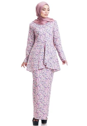 Ashura pink and multi Zajiha Kurung  Cotton With Layered Peplum 504AFAA1A01EFAGS_1