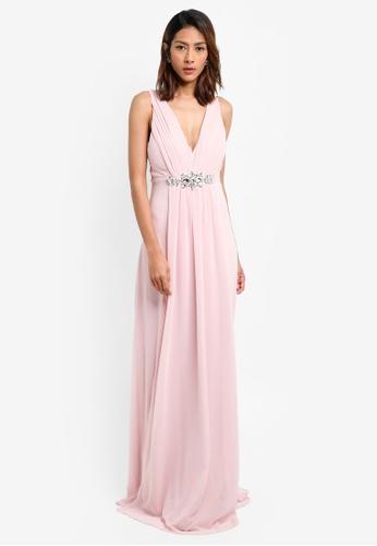 Goddiva pink V Neck Embellished Maxi Dress 66A7FAA73B71C1GS_1