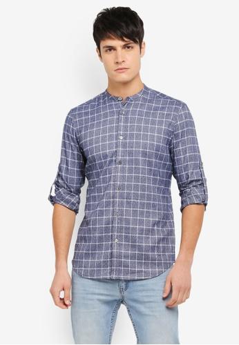 ZALORA blue Mandarin Collar Window Pane Checks Long Sleeve Shirt 7F2DDAA1DD1C54GS_1