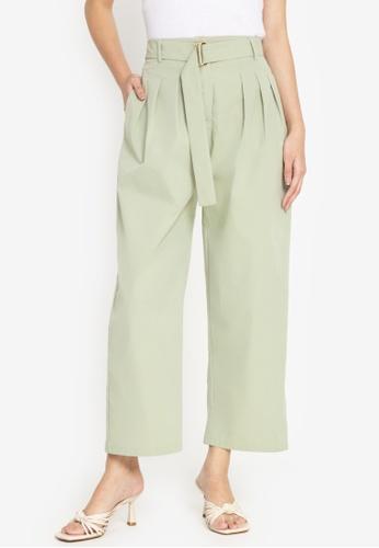ZALORA WORK green Belted Pleated Pants E1753AA93AE8F7GS_1