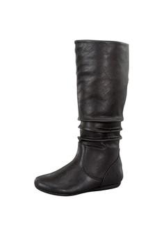 Pleat Mid Calf High Boots