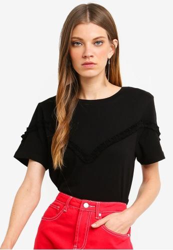 Brave Soul black T-Shirt With Ruffle A2093AA6C5D3D9GS_1