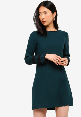 ZALORA BASICS green Basic Dress With Sleeves Contrast DD540AA7207C20GS_1