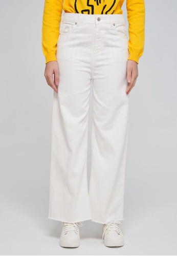United Colors of Benetton 白色 素色單寧寬褲 36D86AAA76C42FGS_1