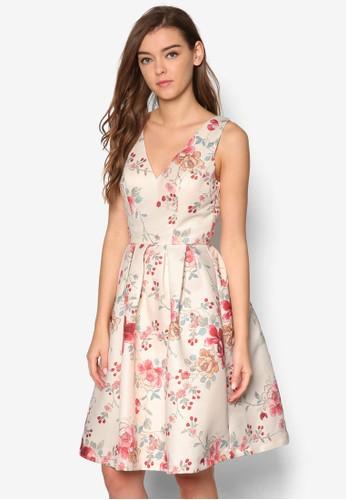 Sahvannah V領口印花esprit taiwan洋裝, 服飾, 洋裝