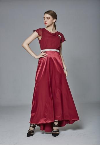 時尚羅馬領雪紡紗拼接緞面長禮服, 服飾, 派esprit童裝門市對洋裝