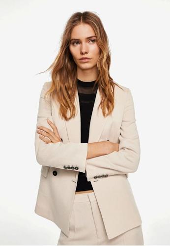 Mango grey Contrast Buttons Blazer A236AAAAC3EBBEGS_1