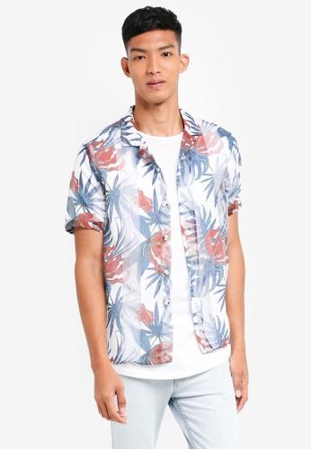Topman white White Palm Short Sleeve Shirt 31308AAB47A384GS_1