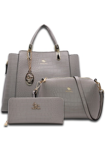 POLO HILL grey POLO HILL Scaly Textured Tote Bag 3-in-1 Set FFF43ACD3A2D2FGS_1