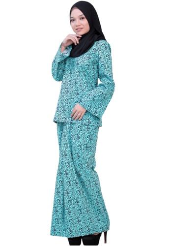 Kurung Kedah (AEKK03 Blue Turqoise/ Navy Blue) from ANNIS EXCLUSIVE in Blue