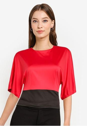 ZALORA WORK red Colourblock Wide Sleeves Top 45F3DAA1CCF234GS_1