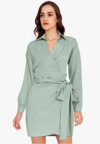 ZALORA WORK green Wrap Shirt Dress 8B895AAB374AC0GS_1
