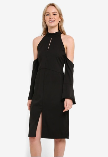 ZALORA black Collection Cold Shoulder Midi Dress E4B4AAA1AFC066GS_1