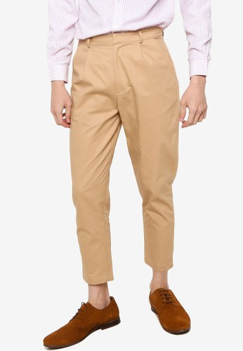 ZALORA BASICS beige Crop Tapered Trousers FE481AAE12B0B4GS_1