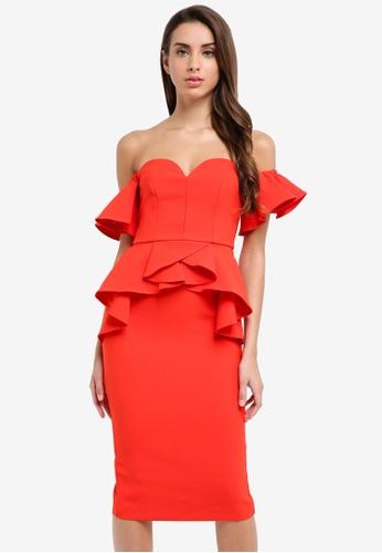 River Island red Frill Midi Dress CEB9EAAF5A8451GS_1