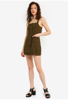 8a3b56e937 Miss Selfridge Petite Khaki Pinafore Dress RM 219.00. Available in several  sizes