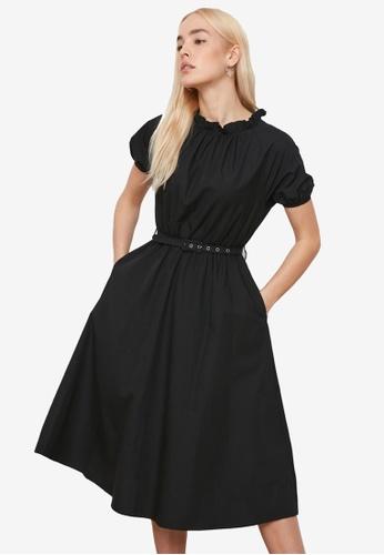 Trendyol black Stand Collar Belted Midi Dress 9B00BAADE5F67CGS_1