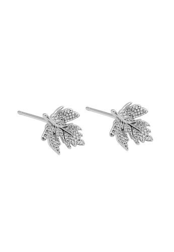 LYCKA silver LDR1206 S925 Silver Maple Leaves Stud Earrings 2EE02AC37B7F66GS_1