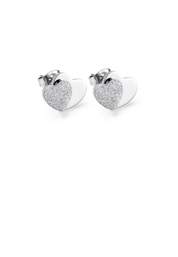 Glamorousky silver Simple and Exquisite Frosted Double Heart 316L Stainless Steel Stud Earrings E7057AC1DBDE9EGS_1