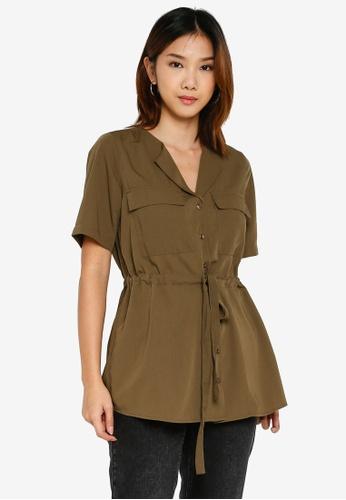 Pieces 褐色 抽繩襯衫 8B924AAC3D8DF4GS_1