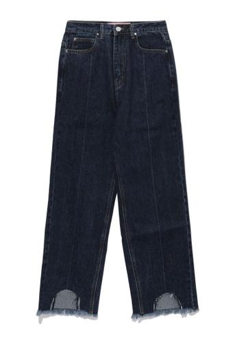 b+ab navy Frayed cutout jeans F26E7AA443B195GS_1