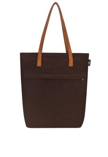 Ripples brown Trey Utility Canvas Tote Bag RI425AC0FEIRSG_1