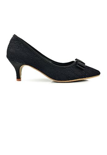 SHINE black Lace Up Point Toe Satin Low Heels EBD2ESH71679DEGS_1
