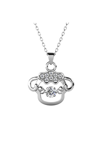 Her Jewellery silver 12 Dancing Zodiac Pendant (Goat) WG - Made with premium grade crystals from Austria C00E3ACE39EA49GS_1