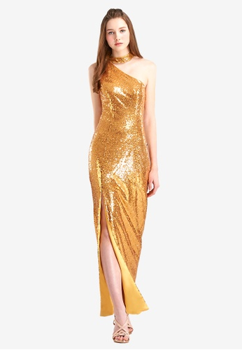 d4ef3c12a4462 O'MUSES gold One-Shoulder Sequins Split Maxi Party Dresses  611BAAAA5C8255GS_1