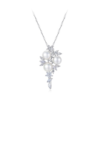 Glamorousky white 925 Sterling Silver Fashion and Elegant Freshwater Pearl Pendant with Cubic Zirconia and Necklace EF186ACC017E42GS_1