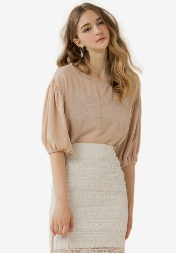 Eyescream beige Embroidered Puff Sleeves Blouse E4C4AAAFD83E82GS_1