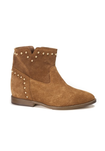 Shu Talk brown INUOVO Suede Leather Studs Cowboy Ankle Boots 2DE2FSH0FC6E64GS_1
