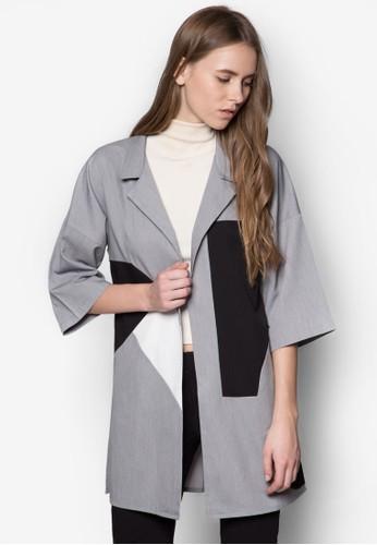 幾何撞色長版外套, 服飾, 西裝esprit 台北外套