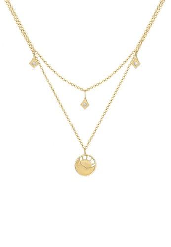 Elli Germany gold Perhiasan Wanita Perak Asli - Silver Kalung Layer Moon Crystal Gold Plated 09E60AC0FFACA7GS_1