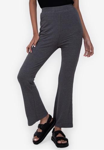 ZALORA BASICS grey Rib Flare Pants 4BCF2AA16580BFGS_1
