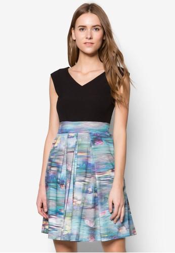 假兩件印花連身裙, 服飾,zalora時尚購物網評價 洋裝
