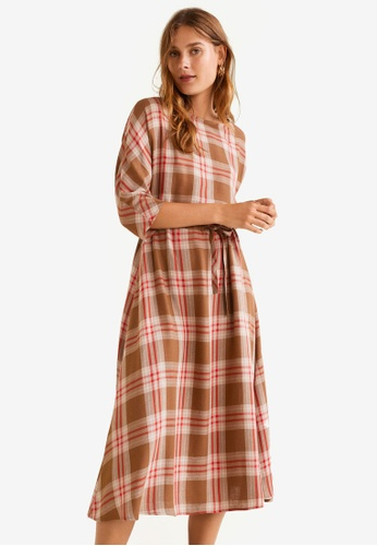 Mango red Checked Linen Dress 88AE2AA8F4F12DGS_1