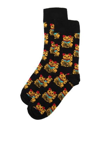 Topman black Black Lucky Cat Socks 7593FAA372A4D4GS_1