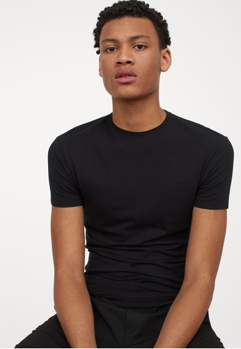 H&M black Muscle Fit Round-neck T-shirt F0AF0AA0C33F2FGS_1