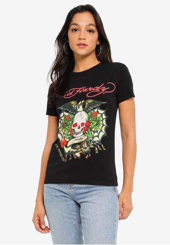 "Ed Hardy black Ladies ""Tarantula Tribe"" Rhinestone Embroidered Round Neck Tee 7F094AA30916B8GS_1"