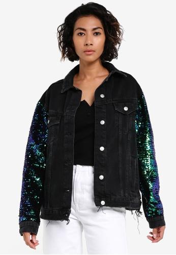 TOPSHOP black MOTO Sequin Denim Jacket TO412AA0RSN2MY_1