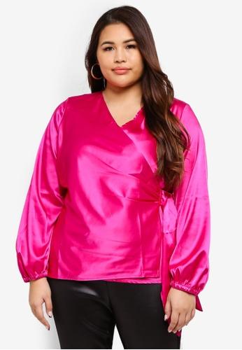 ELVI pink Plus Size Angela Plunge Wrap Blouse 95C8EAA152BC5AGS_1