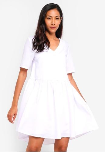 ZALORA BASICS white Basic Cotton Peplum V-Neck Dress 5BE71AA416598EGS_1