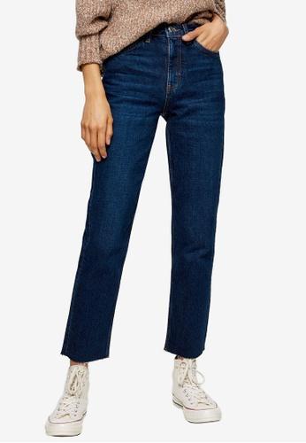 TOPSHOP blue Raw Hem Organic Cotton Straight Jeans B1B45AA3D21E88GS_1