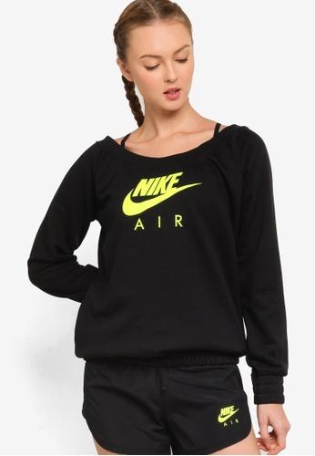 Nike black and grey Women's Air Fleece Long-Sleeve Top 3DCE7AABA9AE37GS_1